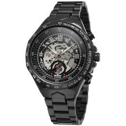 Wholesale Watches Gift Box Design - Winner Men's Watch New Design Stainless Steel Bracelet Skeleton Best Original Automatic Wristwatches shipping free with gift box