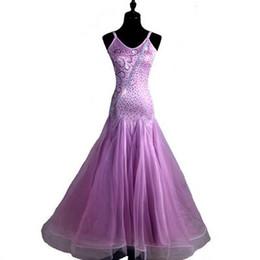 Wholesale Tango Dresses For Dance - 2017 New Customized Light Purple Ballroom Dancing Dress for Women Real Feathers Shinning Rhinestones Waltz Tango Dress CADB025