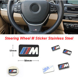 M6 stainless online-Nuevo acero inoxidable M Performance Volante Sticker M Wholebody emblema multifunción para BMW F30 F20 F10 M3 M5 M6 M7 X5 X6