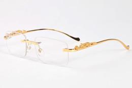 Wholesale Cat Leopard - free shipping 2017 designer vintage brand sunglasses for men buffalo horn glasses gold silver leopard frame women rimless sunglasses