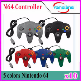 Wholesale Without Handles - New 5 color Long Handle Controller Pad Joystick Game System for Nintendo 64 N64 without Retail packaging 10 pcs YX-N64-1