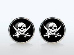 Wholesale Skull French Cuffs - Cool Pirate Sign Vintage Sleeve Button French Shirt Cufflinks Brand Silver Plated Skull Glass Cuff Links Man Woman Accessories