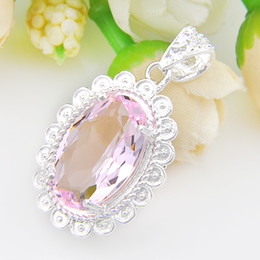 wholesale pink topaz jewelry Coupons - Time-limited Sale Girls' Sterling Silver Jewelry Oval Fire Pink Topaz Gemstone Pendants for Necklaces Wholesale Necklace N0454