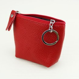 Wholesale Mini Bags For Changes - Wholesale- Genuine Leather Mini Women Zipper Coin Purse Bag with Keychain Woman Cute Pouch Change Wallets For Girls 2016 kinder portemonnee