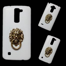 Wholesale Stylus Stand - 3D Fashion Bronze Lion Head Finger Ring Holder Stand Back Hard Case Cover for LG G2 G4 G5 G6 V10 V20 V30 K7 K10 G Stylo G4 Stylus