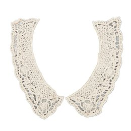 Wholesale Sewing Charms Wholesale - Wholesale- EAS-beige cotton flower cut-out lace collar charming sewing applique style 01