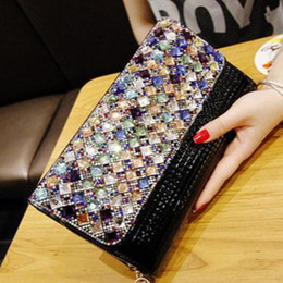 Wholesale White Purse For Wedding - Colorful Rhinestones Evening Bags Diamonds Clutches Evening Bag Case Purse Wedding Day Clutch Evening Bags for Party Bag