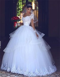Wholesale Sweetheart Layered Wedding Dress Organza - White Arabic Long Sleeves Wedding Dresses Illusion Appliques Lace Layered Organza Ball Gown Wedding Dress Boho Cheap Bridal Gowns