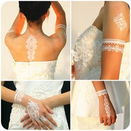 Wholesale Art Wall Tatoo - Wholesale- Wedding Bride Styling White Lace Temporary Tattoo Body Art Flash Tattoo Stickers 21*15cm Waterproof Henna Tatoo Wall Sticker