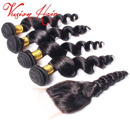 Wholesale Double Jet - 3 Bundles Loose Wave Human Hair Wefts With Closure Jet Black Peruvian Virgin Hair Unprocessed Double Drawn Virgin Human Braiding Hair