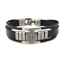 Wholesale British Charm Bracelet - 2017 New Retro Anchors Rivet Leather Bracelet for Men British Style Wristlet Fashion Punk Cowhide Bracelet