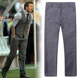 2019 серые формальные брюки Wholesale- Quality Men's Slim Fit Business Trousers mariage Suit Pant Wedding Pant Formal Grey Mens Dress Pants Office Trousers дешево серые формальные брюки