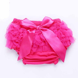 Wholesale girls ruffled red bloomers - Baby Ruffles Chiffon Bloomer Tutu Infant Toddler Cotton Silk Bow Skirt Shorts Kids Layers Skirt Diaper Cover Underwear PP Shorts