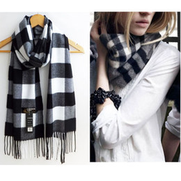 Wholesale Stylish Pashmina - Wholesale-Stylish Wool Blend Women&Men Geometric Plaid Wrap Winter Warm Fleece Scarf Shawl