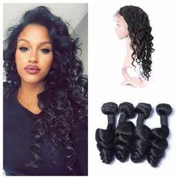 Wholesale Hair Extensions Full Lace Closure - 360 Full Lace Frontal Closure With 4pcs Human Hair Weave Bundles Malaysian Loose Wave Virgin Hair Extensions G-EASY