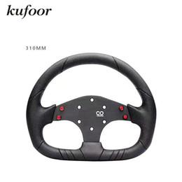 Wholesale Pu Steering Wheel - 2017 Spar** 13inch 310mm Real Leather+PU Car Racing Drift Steering Wheel Auto Racing Steering Wheel
