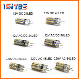 Wholesale G4 Smd 12v Cold - 2017 LED G4 Bulb Mini Corn Bulb DC12V AC DC12V 220V 24LED 48LED 64LED Cold Warm White 1W LED Can Replace 10W Halogen
