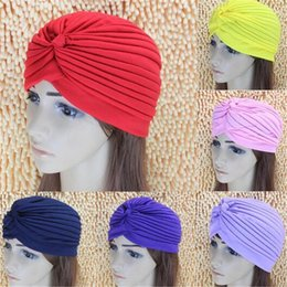 Wholesale Head Hat For Party - Women Lady Stretchy Polyester Turban Head Wrap Hat Band Bandana Hijab Pleated Indian Styles Caps Fashion Gift for Women DHL Free