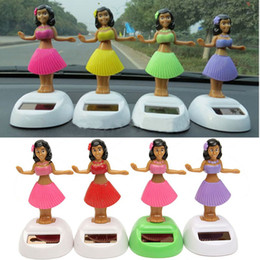 Wholesale Solar Powered Cars Toys - Wholesale-4pcs set Solar Powered Dancing Hula Girl Swinging Bobble Toy Gift For Car Decoration Novelty Happy Dancing Solar Girls Toys