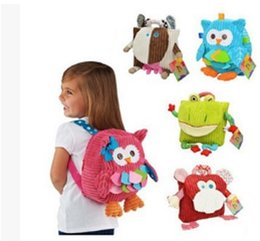fabric baby owls Coupons - New Cute Cartoon Soft Owl Monkey Animals backpack Toy for Children schoolbag plush hasp baby bags