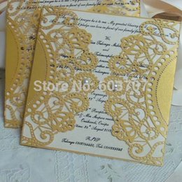 Wholesale Lace Pocket Wedding Invitations - Wholesale- Laser Cut Pearl Lace Pocket wedding invitation card, Birthday Invitation Business invitation card, 100PCS lot, Free shipping