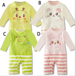 Wholesale Korean Jumpsuit Rompers - Spring Autumn New Born Babies Romper Children Climb Clothes Kids Printed Animal Cute Korean One-piece Rompers Jumpsuit B4770