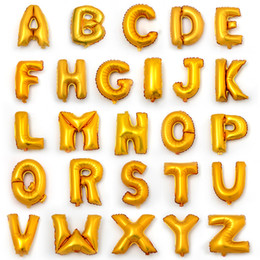Wholesale Letter Gold Cake Topper - Hot 16inch Alphabet English Letter A-Z Number 0-9 Inflatable Aluminum Balloons Birthday Wedding Party Decoration Foil Balloon