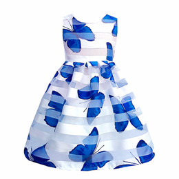 Wholesale Chinese Kids Wear - Kseniya Kids Summer Girls Butterfly Print Lace Dress Baby Girl Clothes Kids Dresses For Girls Children Girls Birthday Soft Wear
