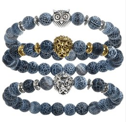 Wholesale Leopard Head Rhinestone - 2017 Leopard Tiger Eye Lion Head Bracelet Owl Buddha beads Bracelets Bangles Charm Natural Stone Bracelet yoga Jewelry Men Women