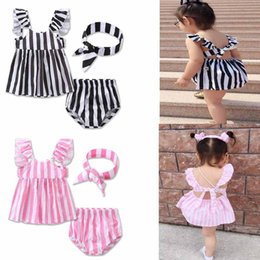 Wholesale Baby Bread Pants - New Baby Girls Sets Outfit Striped Vertical Puff Sleeveless Tops Dress + Bread Pants Brief + Bow Headband 3pcs Set Suits Girls Outfits A6548