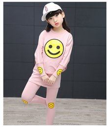 Wholesale Kit Girl Autumn - Girl Set 2017 Spring Style Children's Wear Sports Kit Large child children's long-sleeved bat shirt two-piece suit