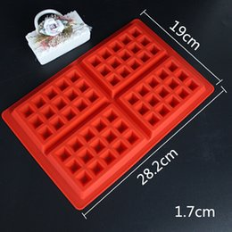 Wholesale Molds For Chocolates - Silicone Waffle Mould 4-Cavity Waffles Cake Chocolate Pan Fondant Silicone Molds for cake decorating Baking Moulds