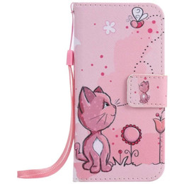 Wholesale Paint Stand - Painted Cat bee flip leather case for iphone 5 5s 6 6s 7 plus card cover Card slot wallet with kickstand phone stand