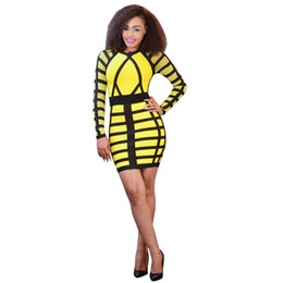 Wholesale Tight Office Dresses - Fall 2017 New Sexy Club Dress Tight Package Hip Slim Party Striped Long Sleeve Bodycon Dresses Office Mini Autumn Dress