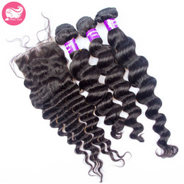 Wholesale Double Star Parts - Prida Star 4pcs lot Loose Wave Peruvian Hair With Closure Middle Part 3pcs Peruvian Virgin Hair Bundles With Lace Closure 1pc Bleached Knot
