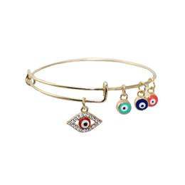 Wholesale Cheap Girls Charm Bracelets - 2017 New turkish blue evil eye luck expandable charms bracelet bangle for women diy jewelry cheap wholesale girls bracelet