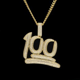 Wholesale Silver Plated Initial Charms - New Mens Luxury Micro Pave Iced Out Cubic Zirconia 100 Percent Pendant Necklace Fashion Charm Jewelry With 3mm Cuban Chain