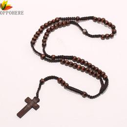 Wholesale Cross Pendants Beads - Wholesale- OPPOHERE Men Women Catholic Christ Wooden 8mm Rosary Bead Cross Pendant Woven Rope Necklace Black brown Beige ligt brown
