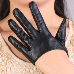 Wholesale Nappa Gloves - Wholesale- 2015 summer women half palm 5-finger Sexy fashion modern driving pole dancing show Party nappa genuine leather gloves mittens