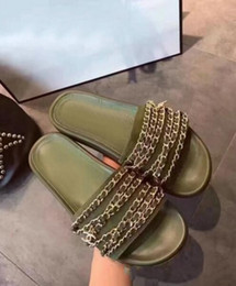 Wholesale Comfortable Gold Sandals - Brand Gold Chains Women Slippers Cut out Comfortable Flats Lazy Summer Beach Sandals Ladies Slipper Hot Selling 2017 Genuine leather Slipper