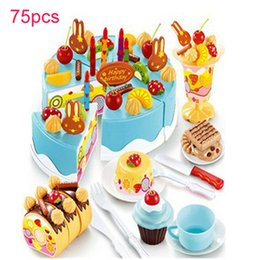 Wholesale Pretend Birthday Cake - 75Pcs Kitchen Toys Pretend Play Cutting Birthday Cake Food Toy Tableware Cocina De Juguete Plastic Play Food Tea Set