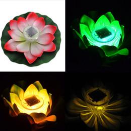 Luzes led lotus outdoor on-line-Brinquedo do DIODO EMISSOR de Luz Ao Ar Livre Flutuante Lotus Light Pool Pond Jardim Da Água Flor Lâmpada LED