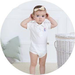Wholesale Hip Cm - Chirldren's garments 2017 summer comfortable 100% cotton short-sleeve polo turn-down collar newborm baby triangle Hip covered romper