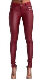 Wholesale Double Zipper Coat - Wholesale- Lowrise wine red pu skinny pencil jeans plus size full length slim leather pencil pants sculpt locomotive jeans double zippers