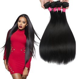 Wholesale Rosa Hair Products - 100% Brazilian Human Hair Straight 4Pcs Lot Wholesale Rosa Hair Products 7A Brazilian Straight Hair Weave Bundles Deals Natural Color 1B#