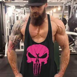 Wholesale Skull Back Top - Wholesale- Fitness Men's Skull Logo Tank Tops Stringer Y Back Racer Tops Bodybuilding Clothes Cotton Sleeveless Gyms Clothing