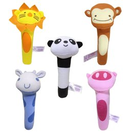 Wholesale Toy Lion Hand - Wholesale- 8 Design Styles New Baby Rattle Toy BIBI Bar Animal Squeaker Toys Infant Hand Puppet Enlightenment Plush Doll Lion Panda Toys