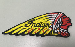 Wholesale Indian Clothes Wholesale - Cool Indian Motorcycles Patches Iron on Embroidered Patch for Clothing and Hats Caps Patch Applique Sew on Patch 11x4.5cm G0205