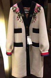 Wholesale Trench Coat Dress Skirt - Retro flower embroidery embroidery v-neck dress skirt trench coat female Straight tube regular warm coat warm
