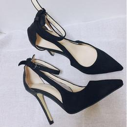 Wholesale Working Dress Fashion Korea - Korea fashion black ankle strap pointed toe sexy high heels women work shoes size 35 to 40